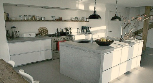 Witte Keuken Met Betonblad : Witte keuken met betonblad van beton en ...